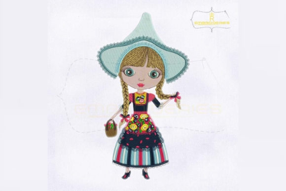 Artistic Piece of Holland Girl Europe Embroidery Design By RoyalEmbroideries