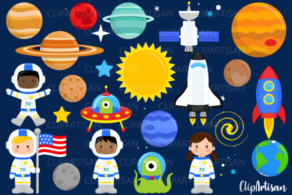 Download Free Astronauts In Space Clip Art Graphic By Clipartisan Creative for Cricut Explore, Silhouette and other cutting machines.