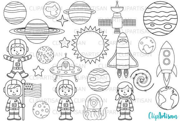 Astronauts in Space Digital Stamps Graphic Illustrations By ClipArtisan