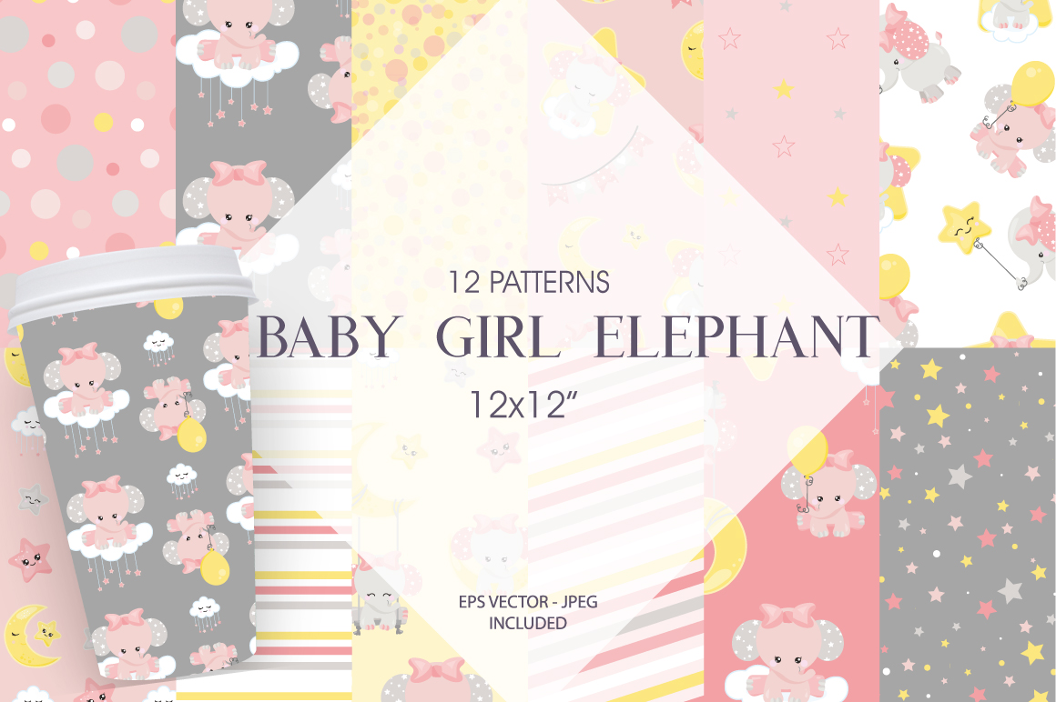 Download Free Baby Girl Elephant Graphic By Prettygrafik Creative Fabrica for Cricut Explore, Silhouette and other cutting machines.
