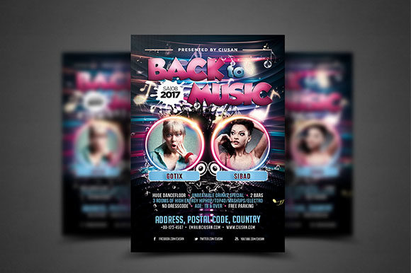 Download Free Back To Music Flyer Template Graphic By Ciusan Creative Fabrica for Cricut Explore, Silhouette and other cutting machines.
