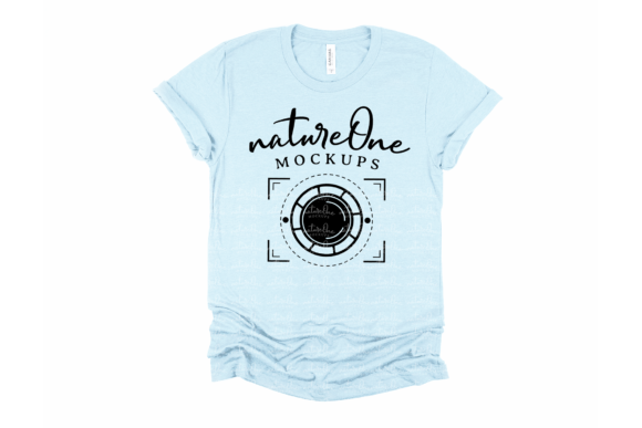 Bella Canvas 3001 Heather Ice Blue Shirt Graphic Product Mockups By natureOneMockups