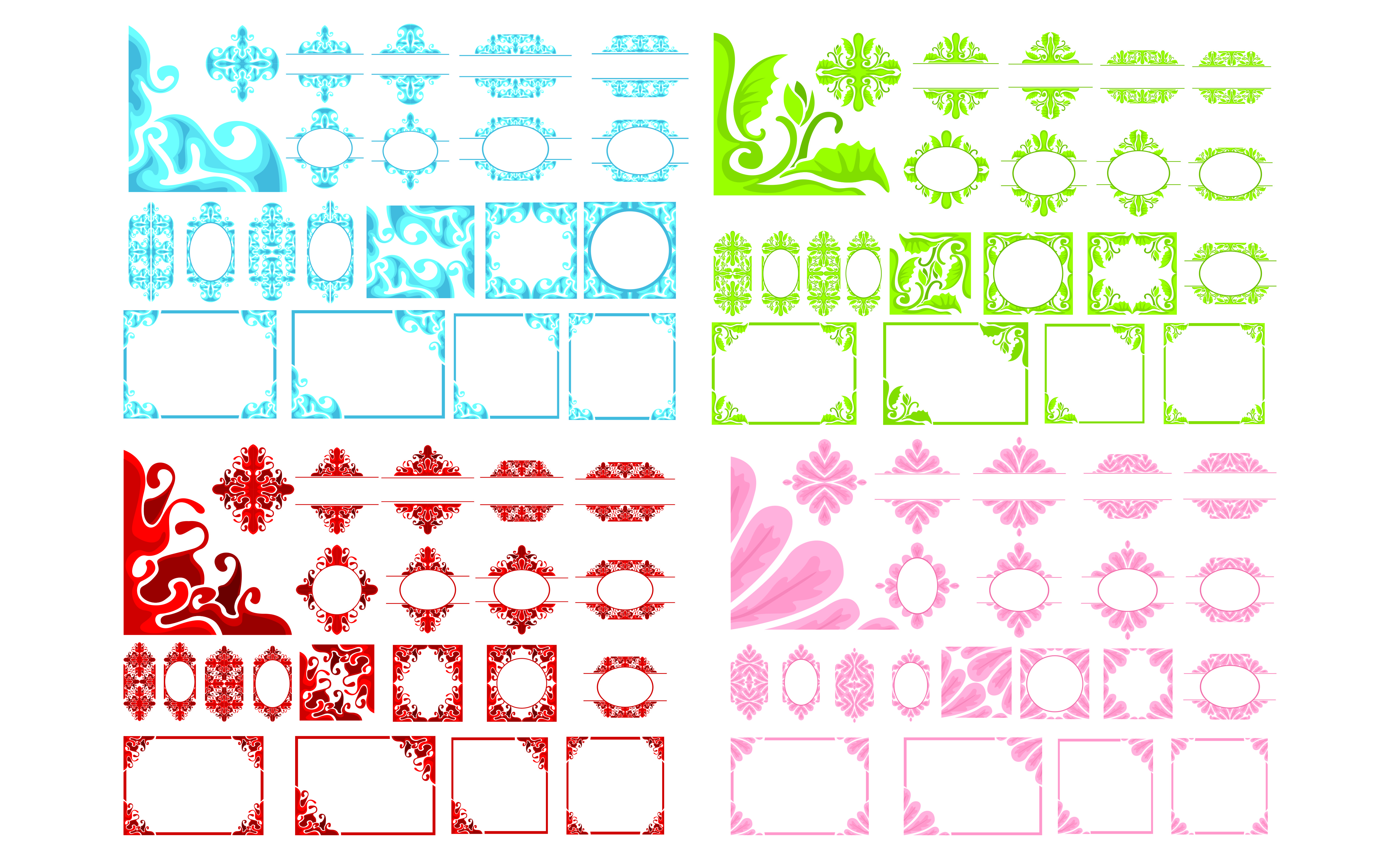 Download Free Big Set Of Ornament Border Design Vector Graphic By Arief Sapta for Cricut Explore, Silhouette and other cutting machines.