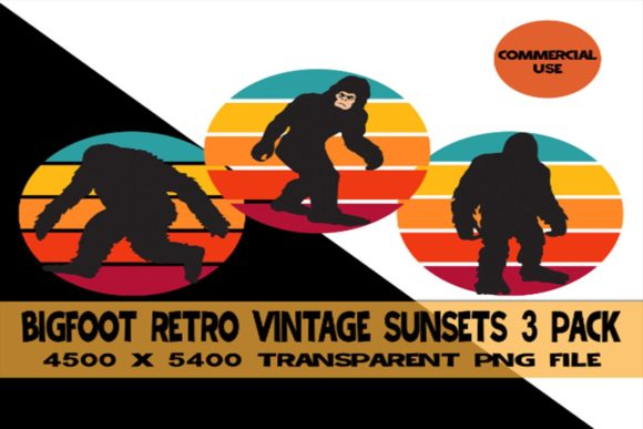 Download Free Bigfoot Retro Vintage Sunset 3 Pack Graphic By Sunandmoon for Cricut Explore, Silhouette and other cutting machines.