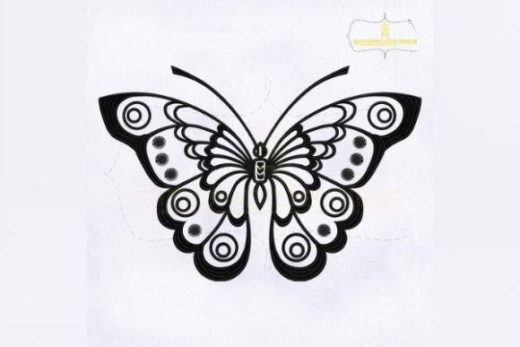 Black and White Butterfly Bugs & Insects Embroidery Design By RoyalEmbroideries