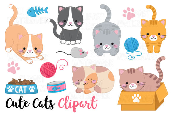 Download Free Cute Cats Clipart Graphic By Magreenhouse Creative Fabrica for Cricut Explore, Silhouette and other cutting machines.