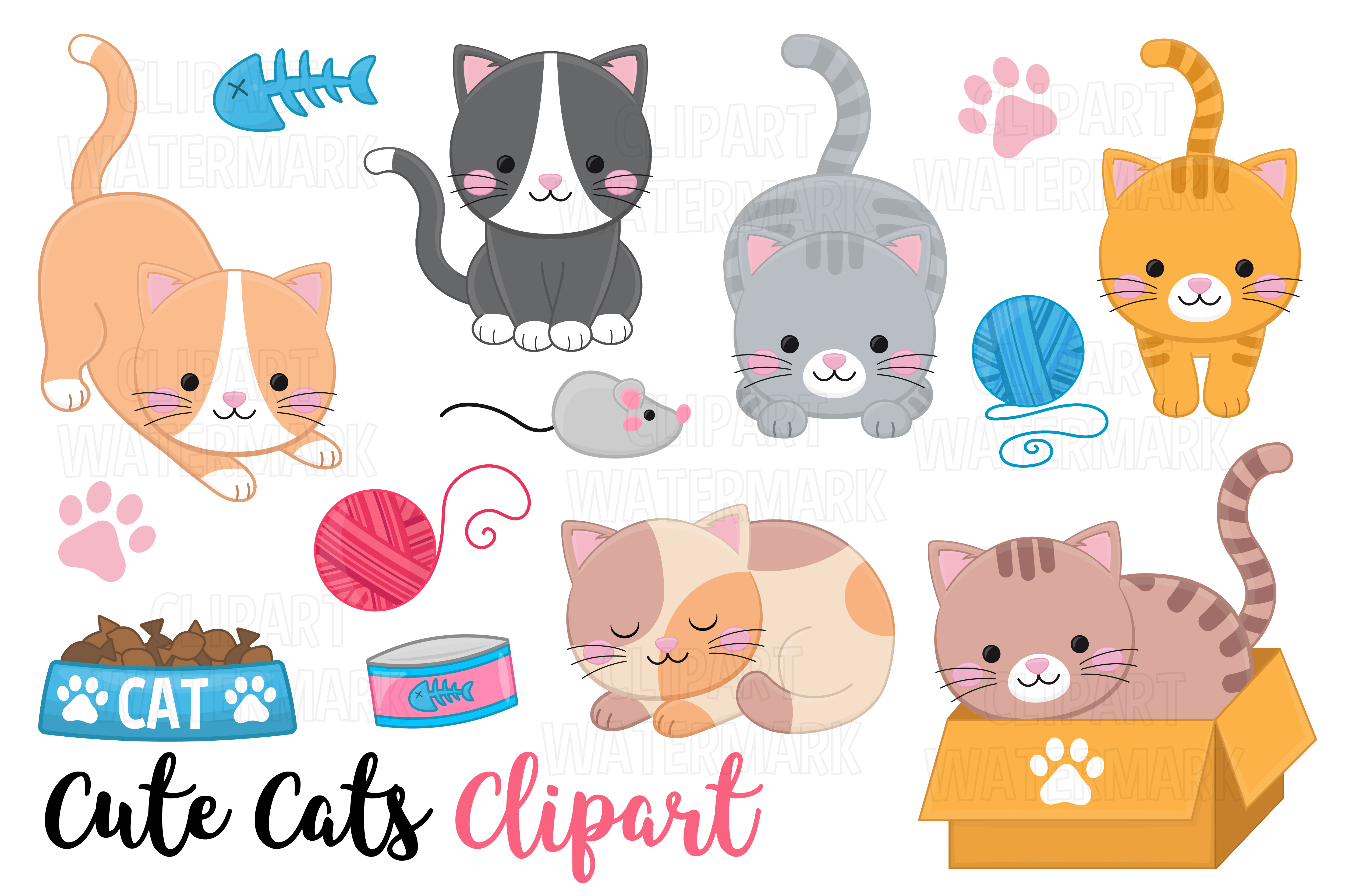 Download Free Cats And Kittens Clipart Graphic By Magreenhouse Creative Fabrica for Cricut Explore, Silhouette and other cutting machines.