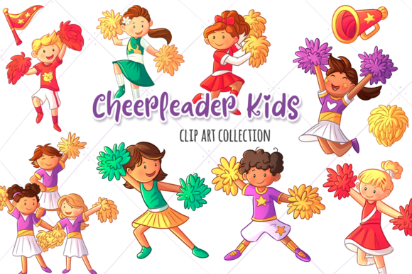 Download Free Cheerleader Kids Clip Art Collection Graphic By for Cricut Explore, Silhouette and other cutting machines.