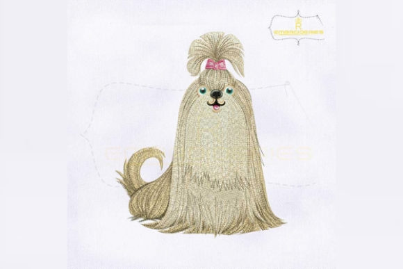 Chinese Dog Lhasa Apso Dogs Embroidery Design By RoyalEmbroideries