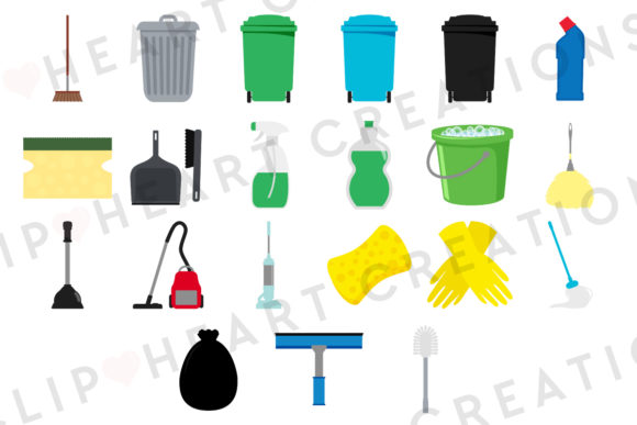 Download Free Cleaning Set Clipart Graphic By Clipheartcreations Creative Fabrica for Cricut Explore, Silhouette and other cutting machines.