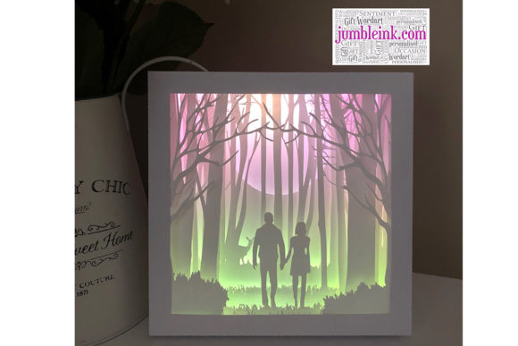 Couple in Forest 3D Paper Cut Light Box Graphic 3D Shadow Box By Jumbleink Digital Downloads