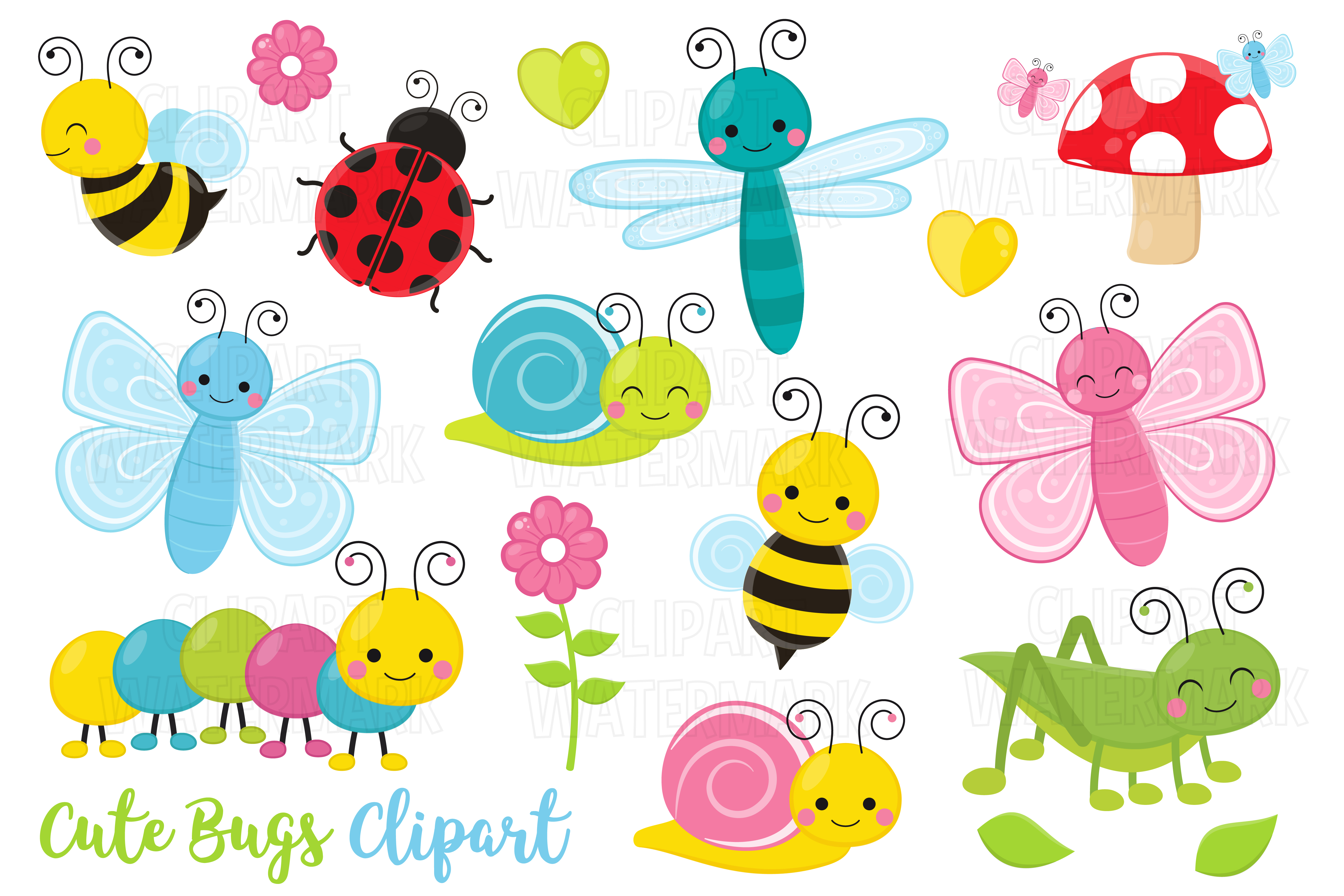 Download Free Cute Crawling Bugs Clipart Graphic By Magreenhouse Creative for Cricut Explore, Silhouette and other cutting machines.