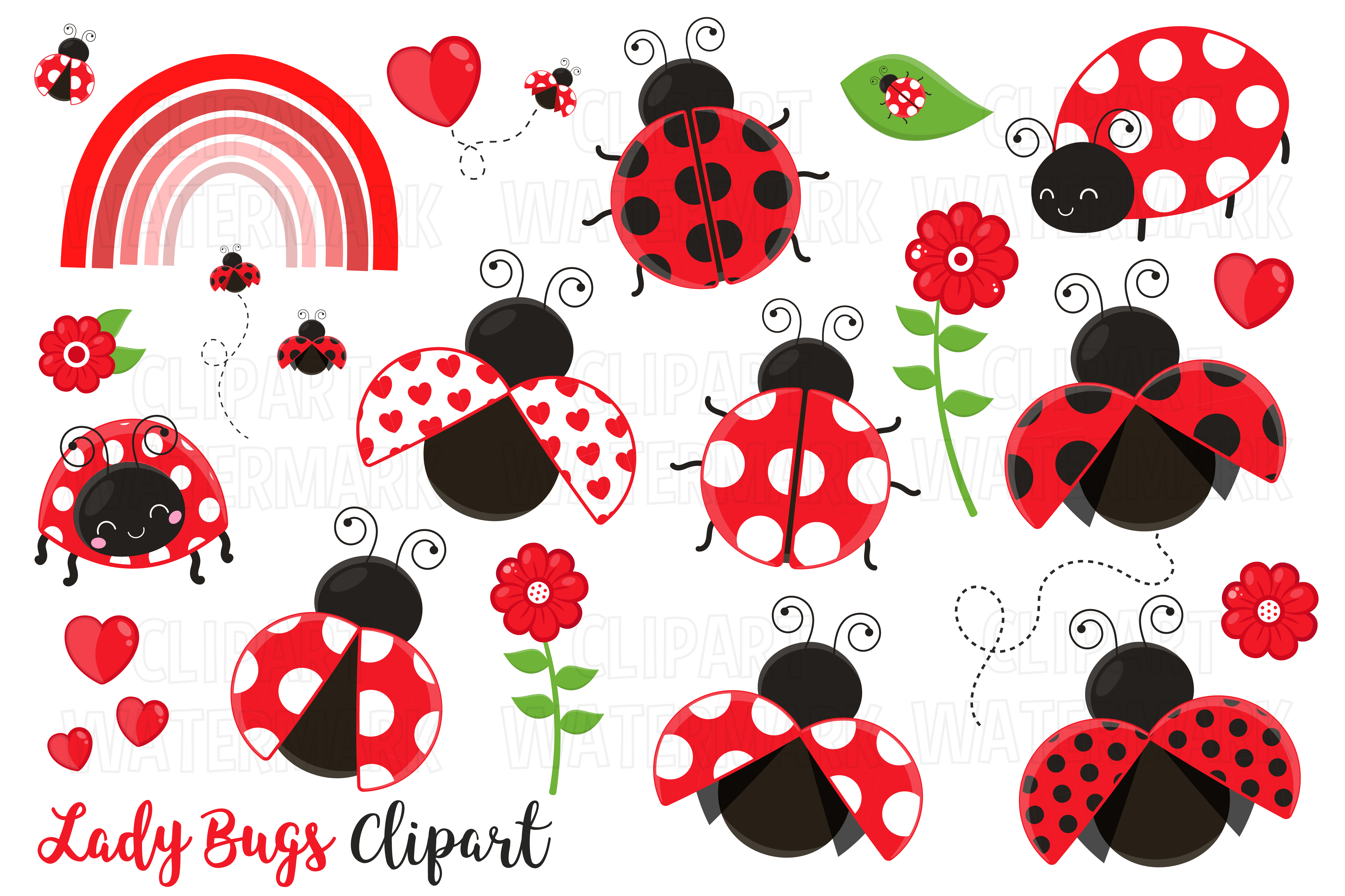 Download Free Cute Ladybug Clipart Graphic By Magreenhouse Creative Fabrica for Cricut Explore, Silhouette and other cutting machines.