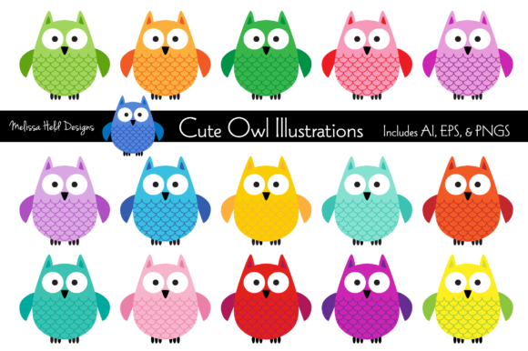 Download Free Cute Owl Illustrations Graphic By Melissa Held Designs for Cricut Explore, Silhouette and other cutting machines.