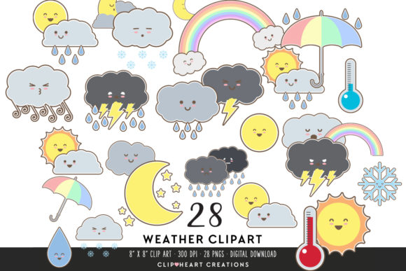 Download Free Cute Weather Clipart Graphic By Clipheartcreations Creative for Cricut Explore, Silhouette and other cutting machines.