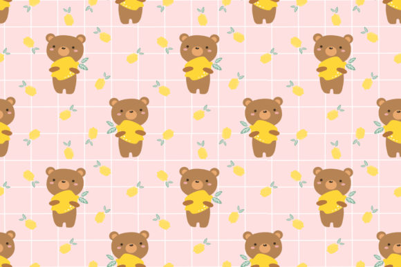 Download Free Cute Bear And Lemon Seamless Pattern Graphic By Thanaporn Pinp for Cricut Explore, Silhouette and other cutting machines.