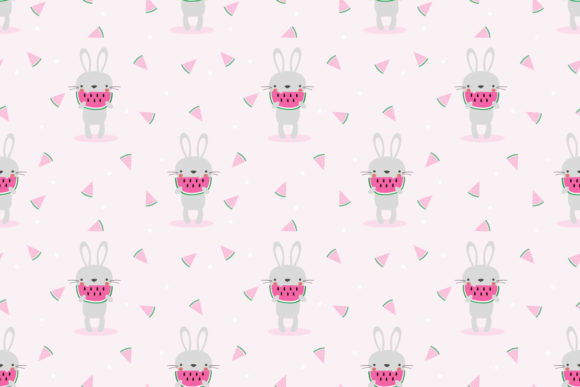 Download Free Cute Bunny Eat Watermelon Seamless Graphic By Thanaporn Pinp for Cricut Explore, Silhouette and other cutting machines.