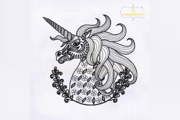 Decorative Unicorn Line Art Fairy Tales Embroidery Design By RoyalEmbroideries