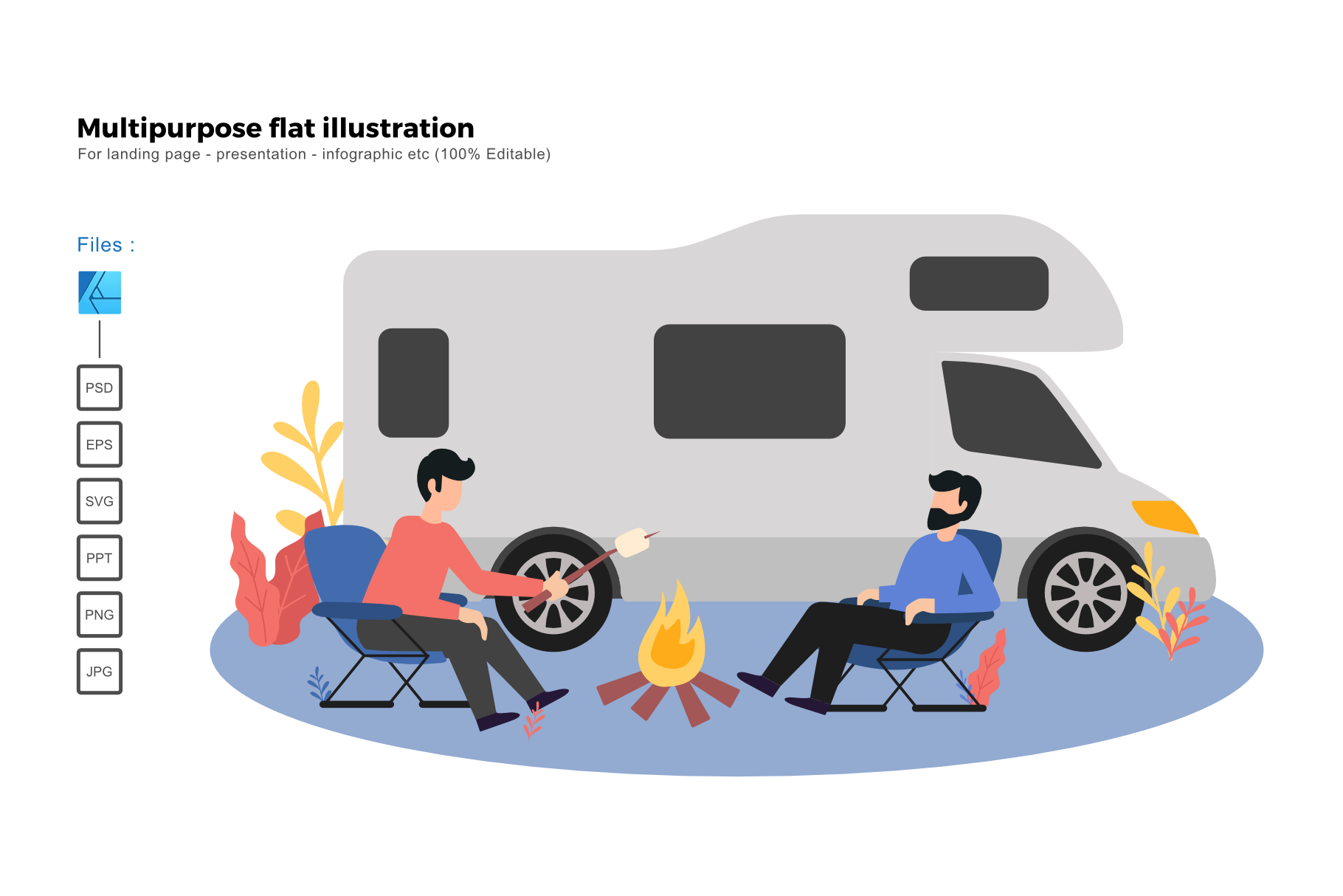 Download Free Flat Illustration Camping Van Graphic By Rivatxfz Creative Fabrica for Cricut Explore, Silhouette and other cutting machines.