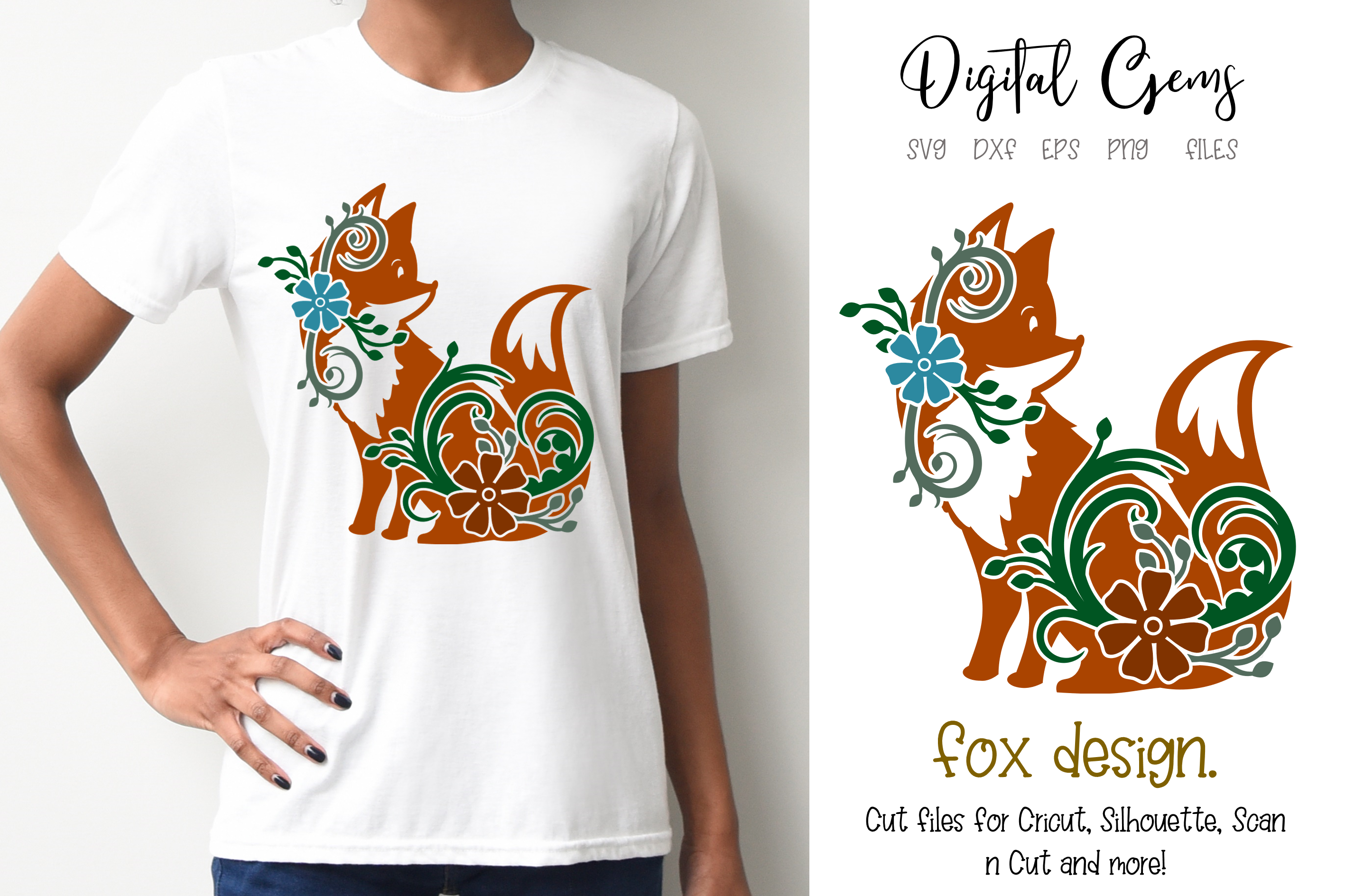 Download Free Fox Design Graphic By Digital Gems Creative Fabrica for Cricut Explore, Silhouette and other cutting machines.