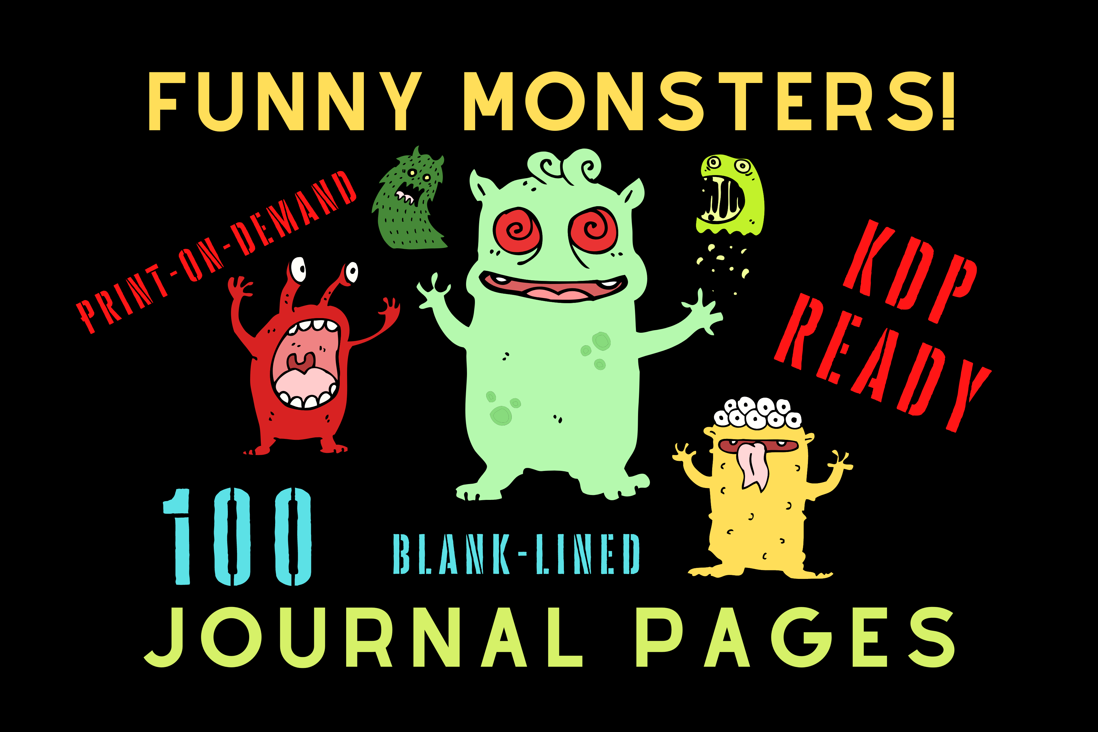 Download Free Funny Monsters Journal Kdp Interior Graphic By Majestic Twelve Creative Fabrica for Cricut Explore, Silhouette and other cutting machines.