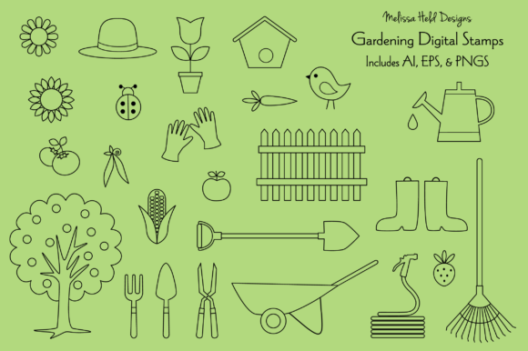 Gardening Digital Stamps Clipart Graphic Illustrations By Melissa Held Designs