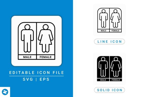 Download Free Gender Bathroom Icons Set Graphic By Zenorman03 Creative Fabrica SVG Cut Files