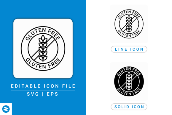 Download Free Gluten Free Icons Set Graphic By Zenorman03 Creative Fabrica for Cricut Explore, Silhouette and other cutting machines.