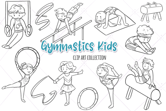 Print on Demand: Gymnastic Kids Digital Stamps Graphic Illustrations By Keepinitkawaiidesign
