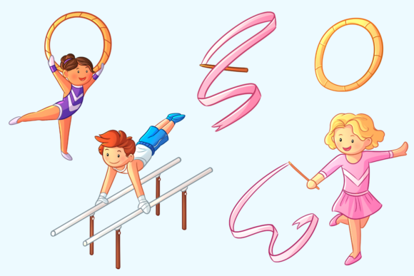 Download Free Gymnastics Kids Clip Art Collection Graphic By SVG Cut Files