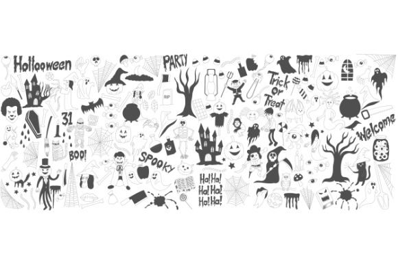Download Free Halloween Drawings Vector Set Of Design Graphic By Firdausm601 for Cricut Explore, Silhouette and other cutting machines.