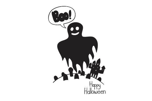Download Free Halloween Ghost With Boo Text Graphic By Firdausm601 Creative for Cricut Explore, Silhouette and other cutting machines.