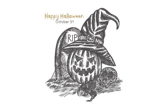 Download Free Halloween Pumpkin Drawing Graphic By Firdausm601 Creative Fabrica for Cricut Explore, Silhouette and other cutting machines.