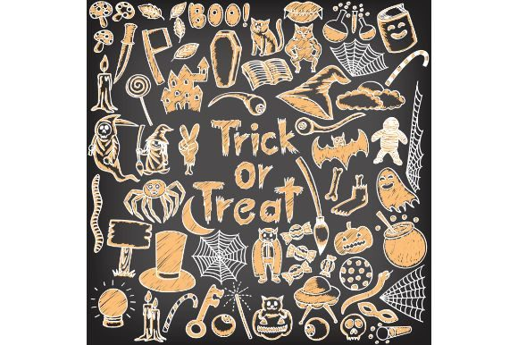 Download Free Halloween Set On Chalkboard Graphic By Firdausm601 Creative for Cricut Explore, Silhouette and other cutting machines.