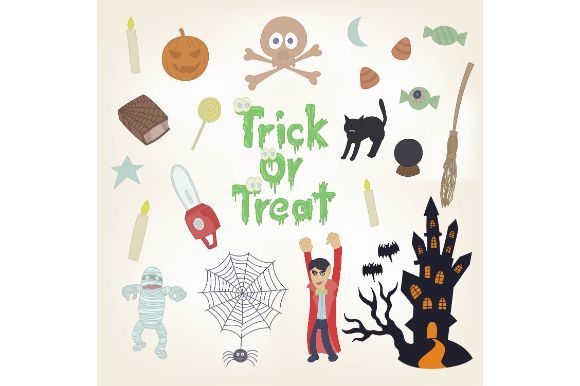 Download Free Halloween Trick Or Treat Graphic By Firdausm601 Creative Fabrica for Cricut Explore, Silhouette and other cutting machines.