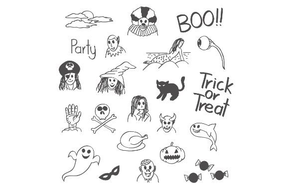 Halloween Trick Or Treat Doodle Graphic By Firdausm601