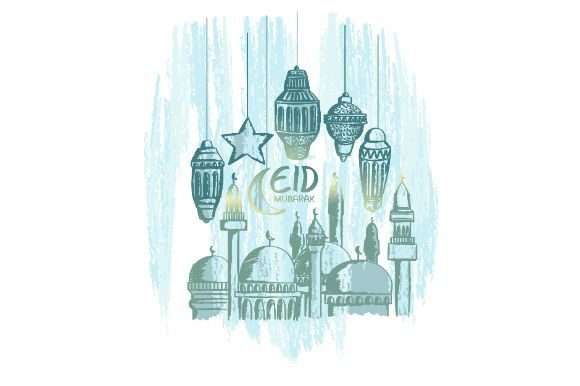 Download Free Hand Drawn Eid Mubarak Vector Graphic By Firdausm601 Creative for Cricut Explore, Silhouette and other cutting machines.