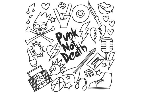 Download Free Hand Drawn Doodle Punk Music Lifesyle Graphic By Firdausm601 for Cricut Explore, Silhouette and other cutting machines.