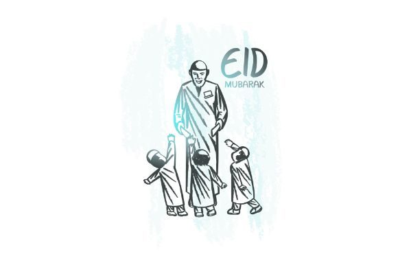 Download Free Hand Drawn Eid Mubarak Giving Money Graphic By Firdausm601 for Cricut Explore, Silhouette and other cutting machines.
