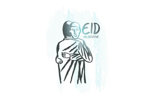 Download Free Hand Drawn Eid Mubarak Hugs Muslim Graphic By Firdausm601 for Cricut Explore, Silhouette and other cutting machines.
