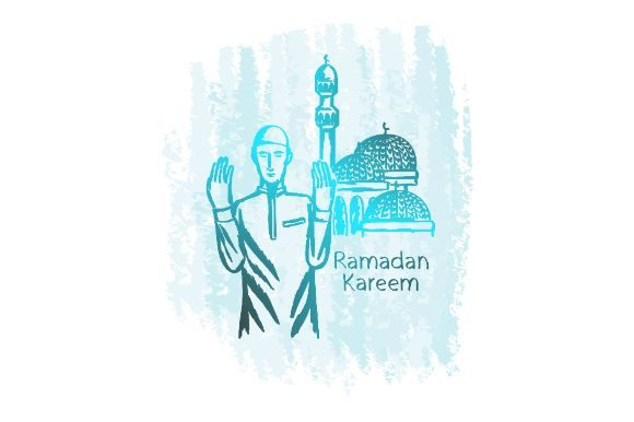 Download Free Hand Drawn Ramadan Kareem Prayer Graphic By Firdausm601 for Cricut Explore, Silhouette and other cutting machines.