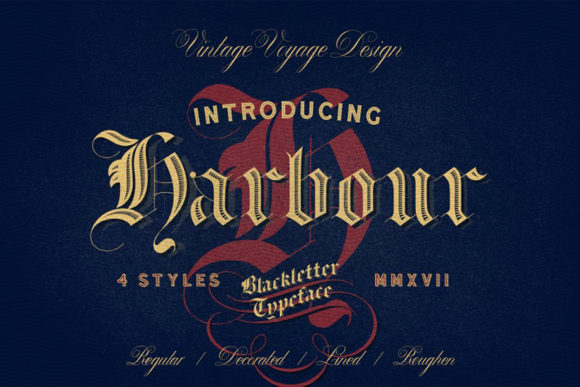Print on Demand: Harbour Blackletter Font By vintagevoyageco