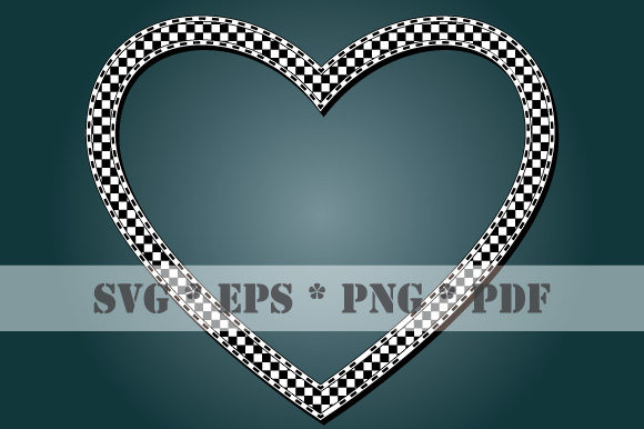 Download Free Heart Checkered Frame Check Transparent Graphic By Graphicsfarm for Cricut Explore, Silhouette and other cutting machines.