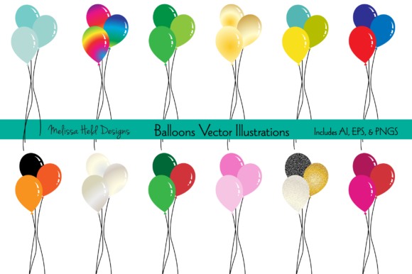 Holiday Balloons Vector Illustrations Graphic Illustrations By Melissa Held Designs