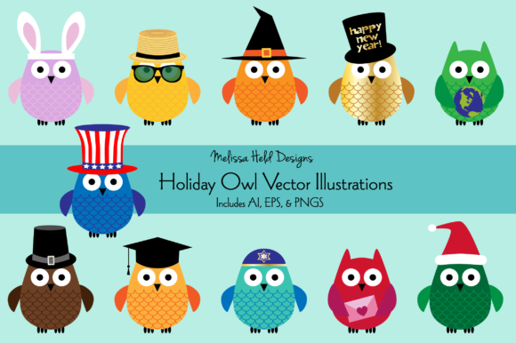 Download Free Holiday Owl Vector Illustrations Graphic By Melissa Held Designs for Cricut Explore, Silhouette and other cutting machines.