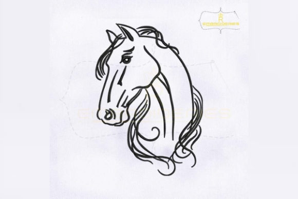 Horse Head Outline Farm Animals Embroidery Design By RoyalEmbroideries