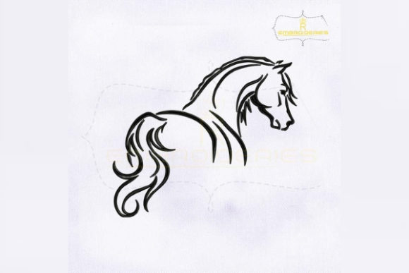 Horse Outline Farm Animals Embroidery Design By royalembroideries