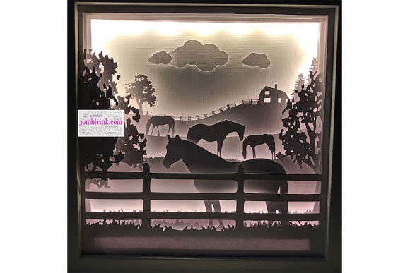 Horse in Fields 3D Paper Cut Light Box Graphic 3D Shadow Box By Jumbleink Digital Downloads
