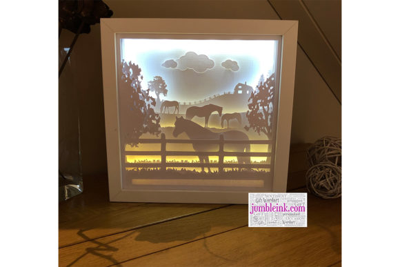 Horse in Fields 3D Paper Cut Light Box Graphic Download