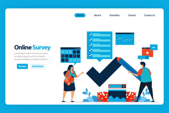 Download Free Illustration Of Online Survey And Exam Graphic By for Cricut Explore, Silhouette and other cutting machines.
